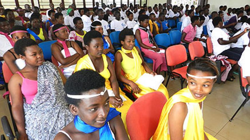 Some of the TVET students at the celebrations in Kayonza. The New Times/ Stephen Rwembeho