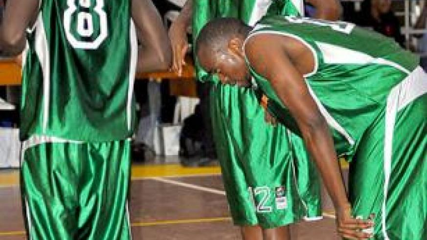Aristide Mugabe (#8) and Karekezi (#12) scored 30 points between them as Espoir ended the regular season unbeaten. Times Sport / File.