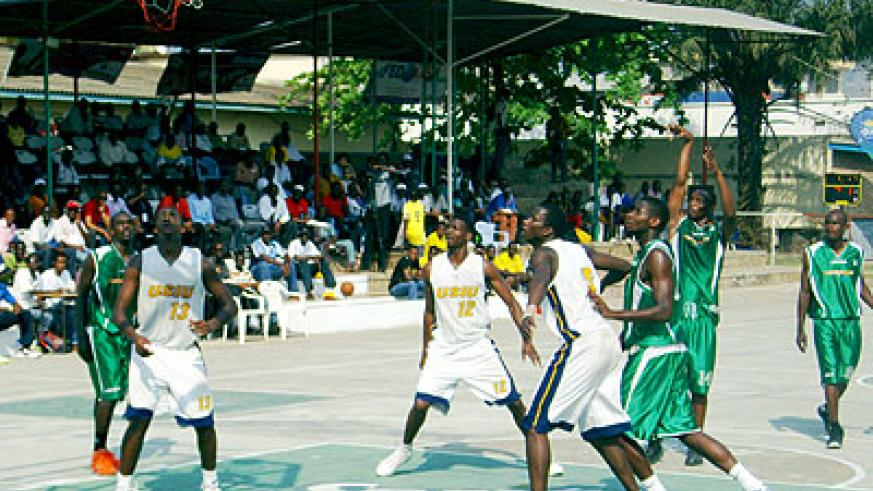 Espoir (in green) playing against Kenya's USIU during this year's Zone V championships in Bujumbura. Times Sport/ File