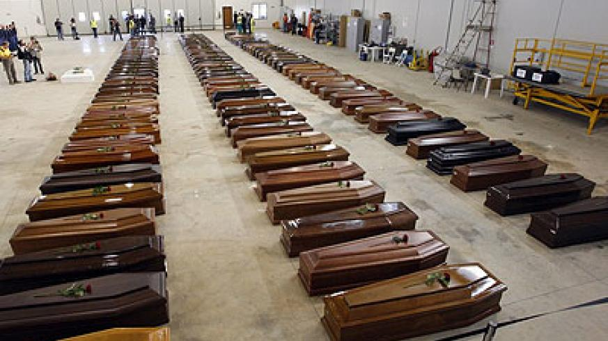 The coffins of hundreds of African dead bodies recovered in Lampedusa, Italy. Net photo.