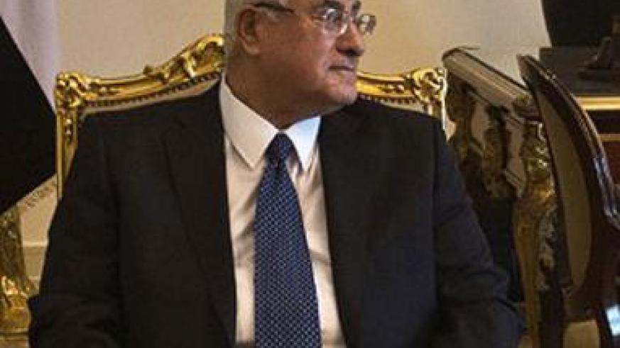Adly Mansour, Egypt's interim president, has said he will review a proposed law that would put tough restrictions on protests. Net photo.