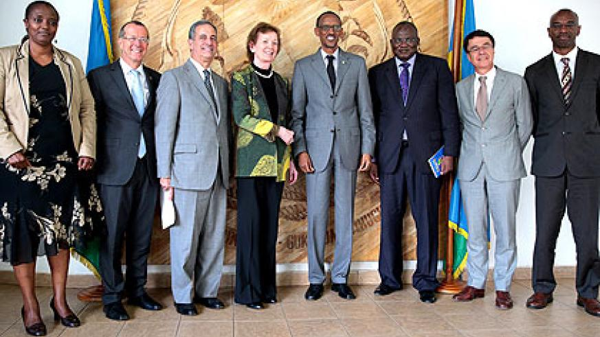 President Paul Kagame with the delegation of Great Lakes envoys after their meeting in Kigali.  Saturday Times/ Village Urugwiro.