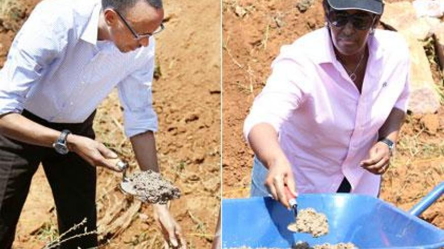 The President and the First Lady joined hundreds of residents of Ndera Sector for the monthly community work, Umuganda. Sunday Times/Village Urugwiro