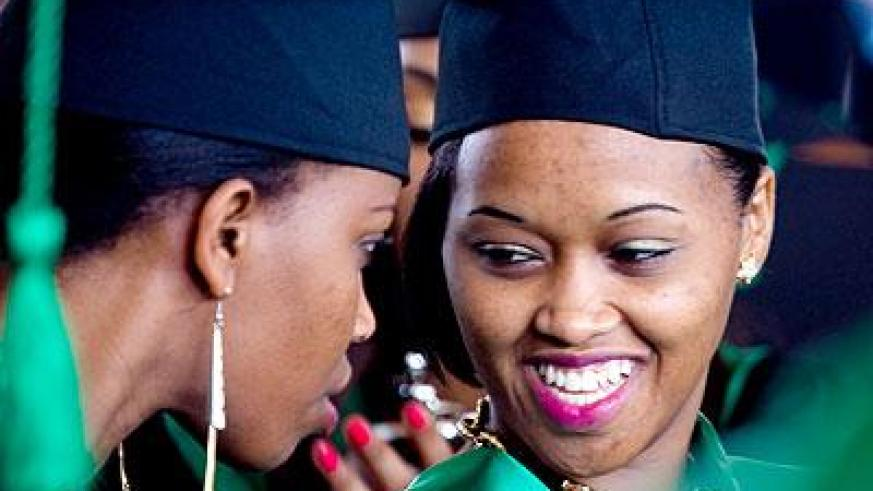 Some of the graduates of RTUC share a light moment. Sunday Times/Timothy Kisambira