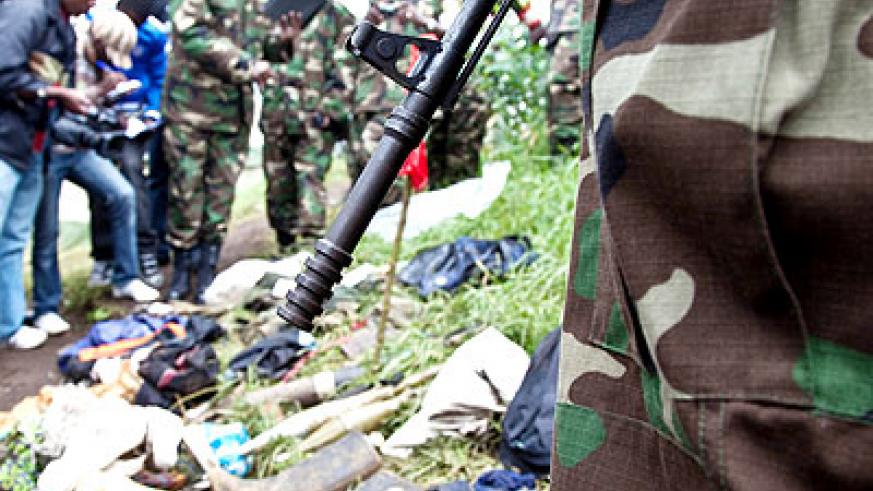 Some of the gadgets of FDLR that were captured by RDF on November 28, 2012 in Rubavu District. The New Times/ File.