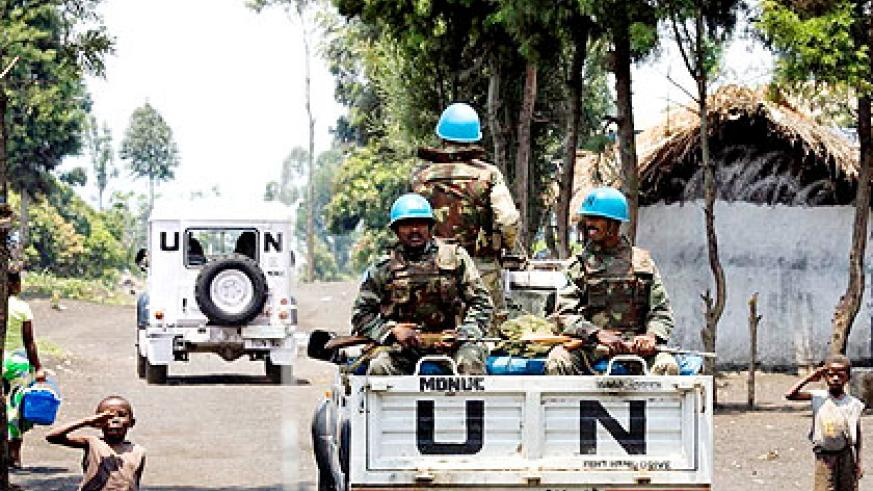 Monusco troops patrol villages in eastern DR Congo . The New Times/ File.