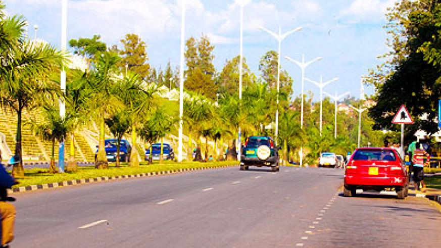 Kigali International Airport Boulevard, one of the streets with lighting. The New Times/ Timothy Kisambira.