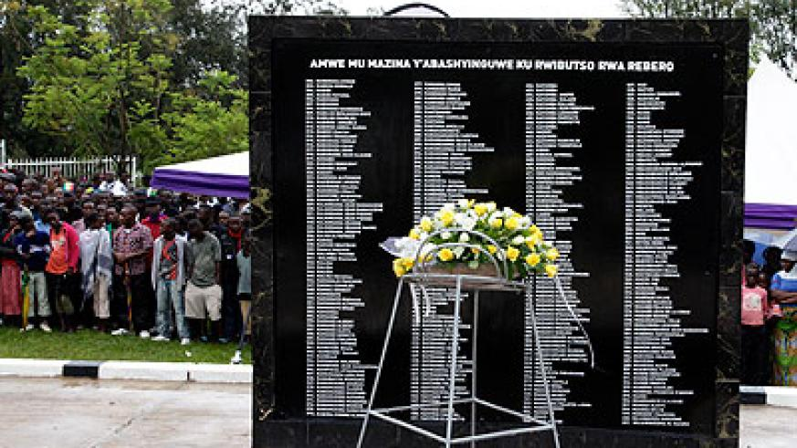 A monument bearing names of Genocide victims at Rebero Memorial. The New Times/File