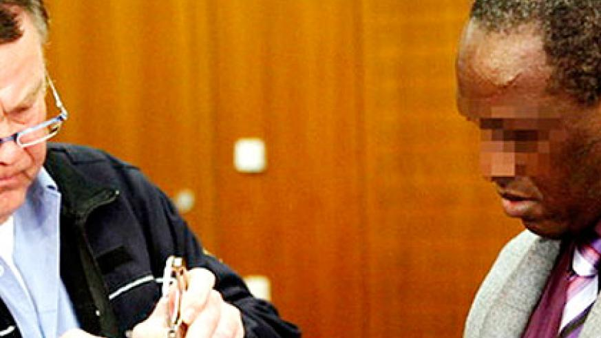 Rwabukombe during one of his appearances in the German court for the trial. Net photo