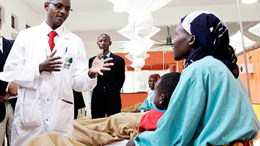 A doctor talks to a cancer patient in Butaro Hospital. The Ministry of Health has called for concerted efforts to fight the disease. The New Times/File