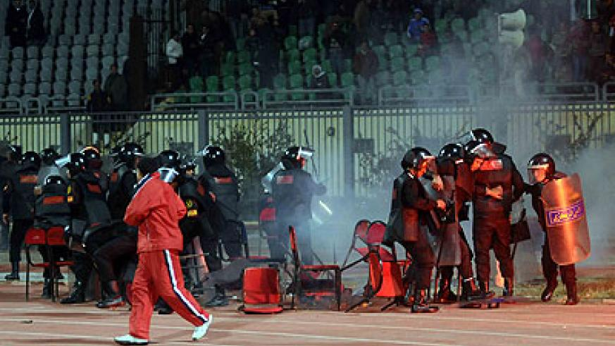 Riot police are seen during a football match riot at a stadium in Port Said of Egypt on Feb. 1, 2012. . Xinhua  photo.