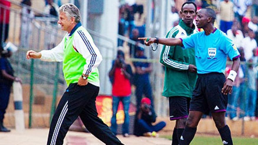 The German coach was sent to the stands by referee Hudu Munyemana for arguing and overcomplaining to the fourth official during the military side's goalless draw against AS Kigal....