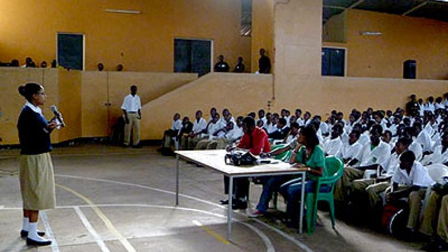 Students from different schools during a past debate competition organised by Never Again Rwanda. File.
