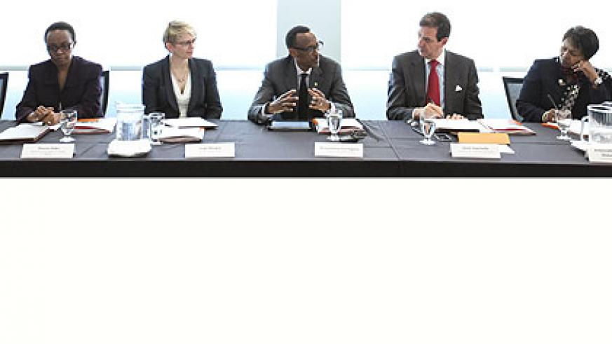<p>President Kagame (centre) speaks at University of California San Francisco (UCSF) in Los Angeles on Thursday. He is flanked by (left to right), Sharon Haba, Permanent Secretary,....