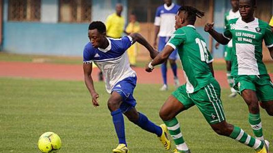 END OF THE ROAD: Rayon Sports' Congolese striker Papy Kamanzi, left, was a constant threat for AC Leopards during yesterday's match at Amahoro National Stadium, which ended 2-2....
