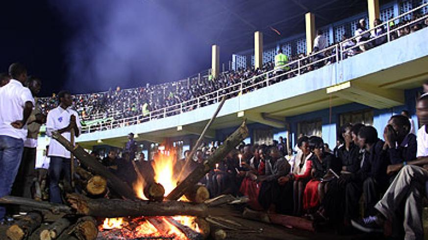 A night vigil in memory of the 1994 Genocide victims at Amahoro National Stadium last year. Village Urugwiro.