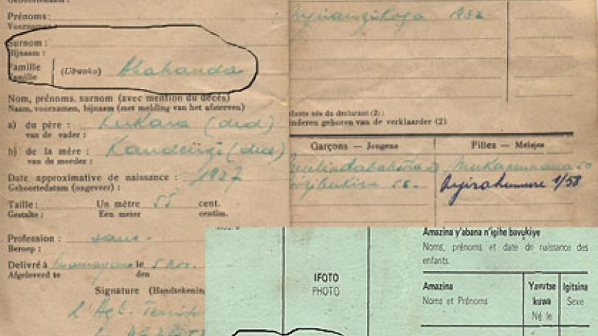 A sample of the identity cards used by colonialists. The colonial masters used identity cards to divide Rwandans. Courtesy.
