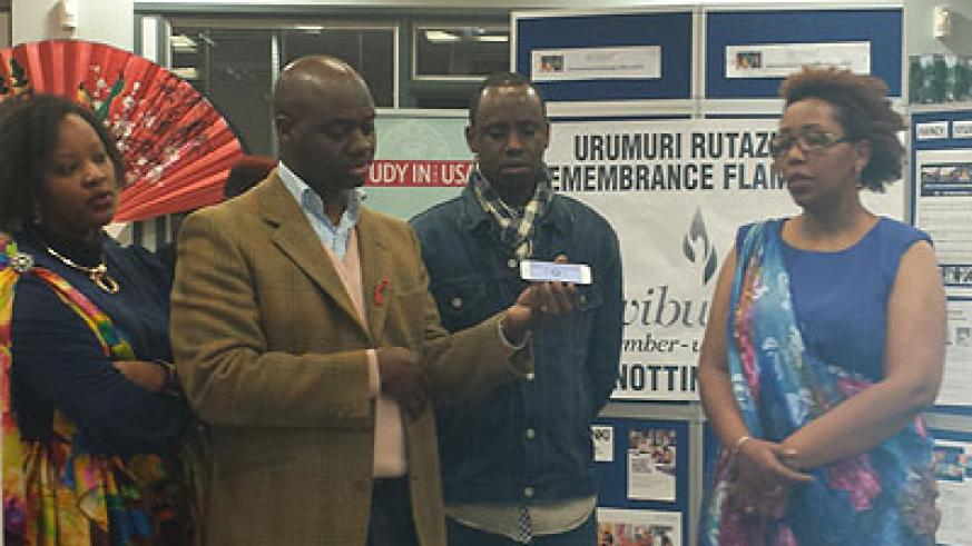 Amdani Juma chair of Notts Rwandan Community in Nottingham with other members during the event. Courtesy