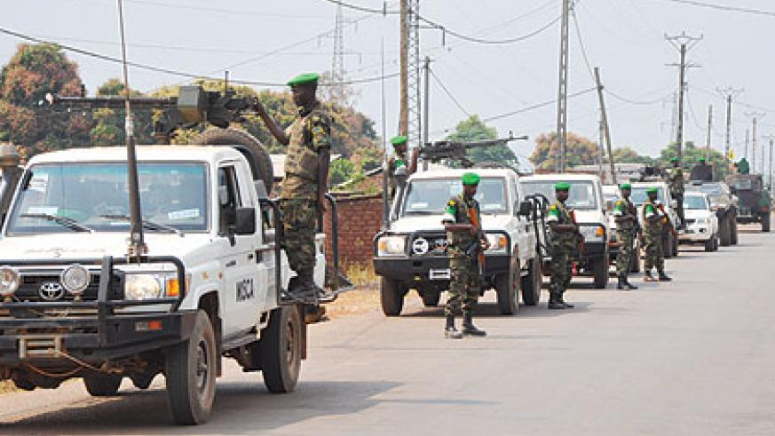 RDF patrols one of the streets in CAR.  The Rwandan peacekeepers rescued nearly 2,000 fleeing Muslim civilians who came under attack from the marauding mainly Christian anti-balaka....