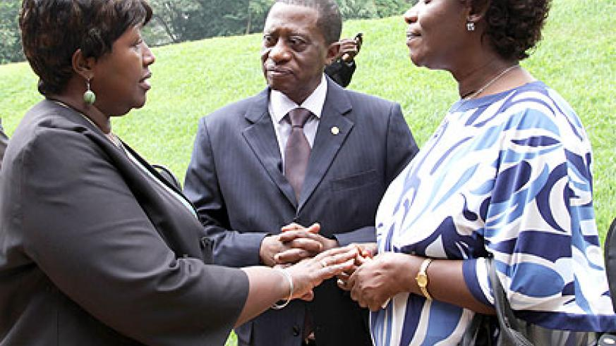 (L-R) Health minister Dr Agnes Binagwaho, African Union Commissioner for Social Affairs  Dr Mustapha Kaloko, and State minister for Social Affairs Alivera Mukabaramba chat at the n....