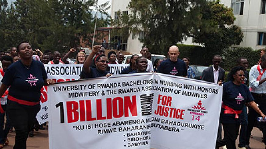 Hundreds of Rwandan women took part in the 'One Billion Rising for Justice Walk last week.