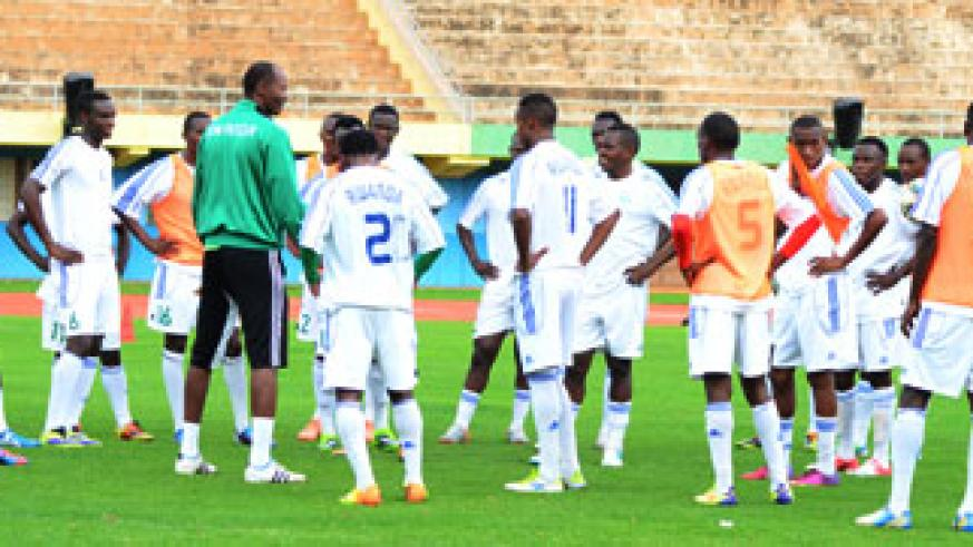 Eric Nshimiyimana (left in green jacket) will lead Amuvubi Stars team to Bujumbura for an international friendly against Burundi on March 5.