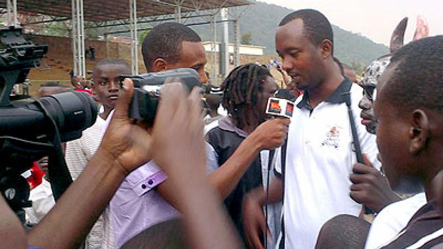 Vincent Mashimi talks to the media after winning his first game in charge against Police FC two weeks ago. Courtesy