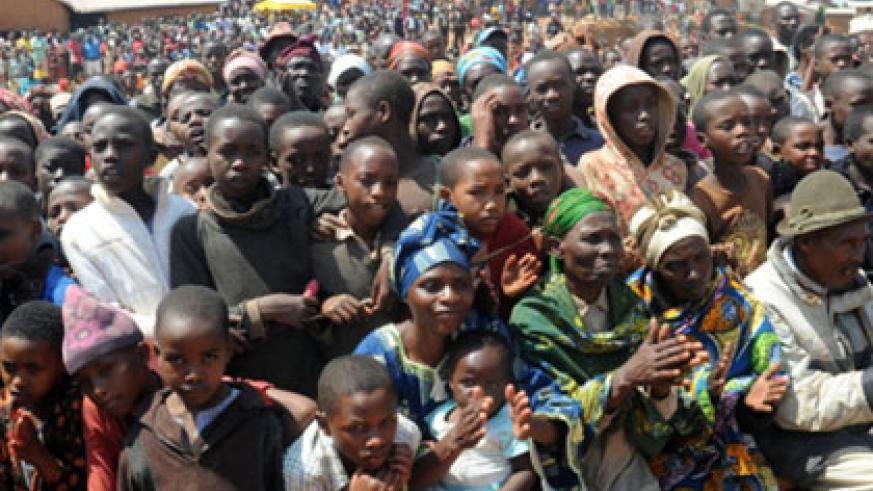 Refugees in Gihembe camp, Gicumbi District gather at a function to mark the 2012 World Refugee Day. File.