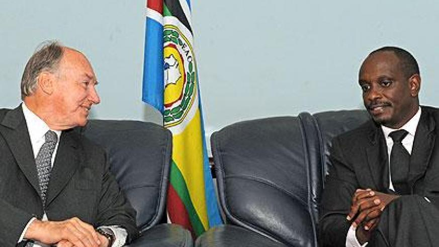Dr Richard Sezibera meets His Highness the Agha Khan at the EAC Headquarters in Arusha. File