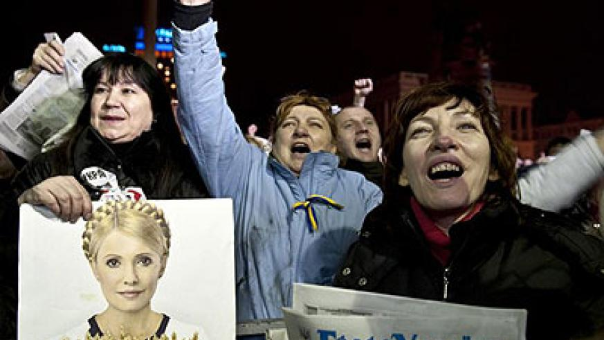 """Yulia Tymoshenko told crowds on Independence Square they were """"the best thing in Ukraine"""". Net photo."""
