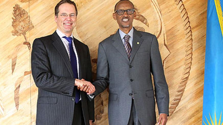 President Kagame with the Swedish Finance minister,  Anders Borg, after the meeting at Village Urugwiro yesterday. Village Urugwiro