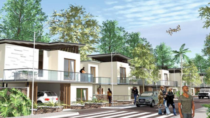 An artistic impression of the houses at Vision City estate. One needs to be earning at least Rwf4m to afford the least expensive of them. Courtesy.