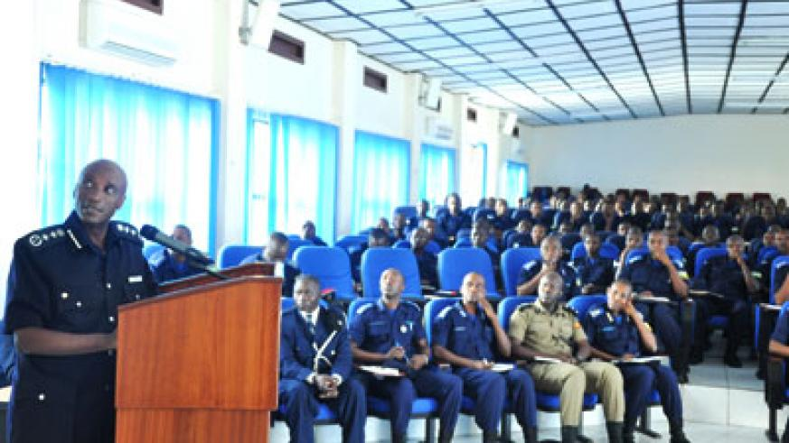 Kayihura lectures officer students yesterday. Courtesy.