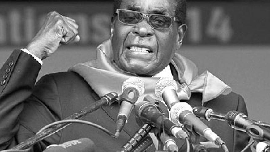 Zimbabwe President Robert Mugabe addresses supporters during celebrations to mark his 90th birthday in Marondera. Net