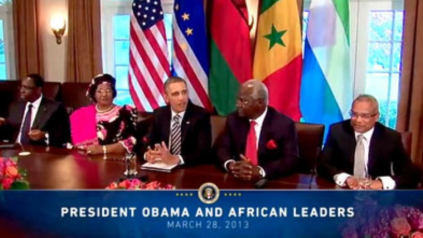 US President Barack Obama during a meeting with some African Heads of State at the White House on March 28, 2013. Net photo.