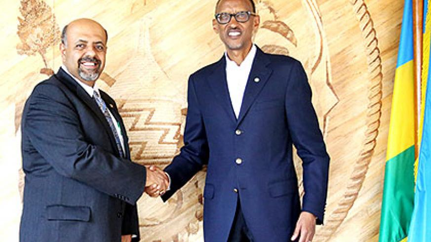 President Kagame welcomes Yoursry Zakhary, the president of International Association of Chiefs of Police, to Village Urugwiro yesterday. The two discussed cooperation in combating....