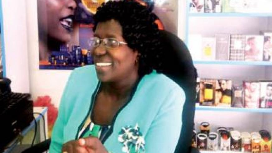 Mukantabana the business woman during the interview at her store. File