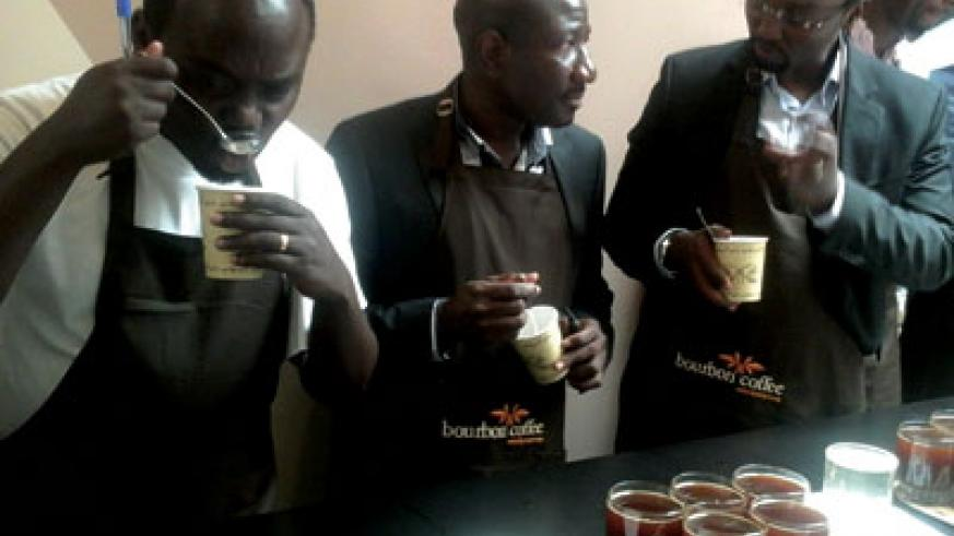 Guests enjoy coffee during the reopening of Bourbon Coffee UTC branch. The coffee bar has expanded its capacity to 185 seats from 75 previously. The New Times / Peterson Tumwebaze.