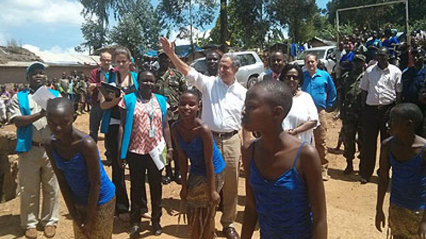 Senator Russ Feingold greets the refugees at Kiziba Camp on Saturday.  Hyppolite Ntigurirwa.