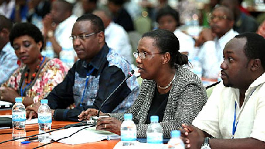 <p>L-R: Ministers Jacqueline Muhongayire (EAC Affairs) , Protais Mitali (Sports & Culture), Amb. Valentine Rugwabiza (RDB Chief Executive) and Evode Imena, State minister for m....