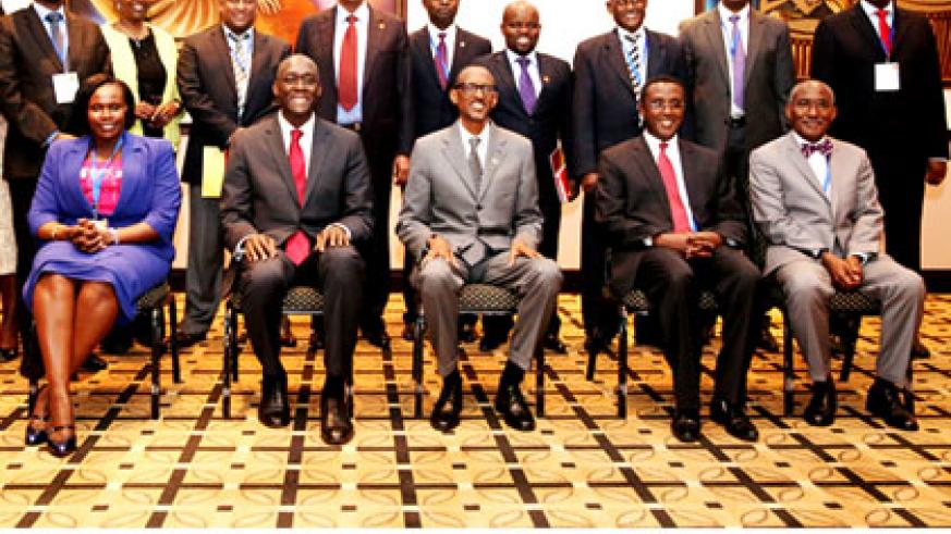 Some of the officials in a group photo with President Kagame (C) yesterday. Seated from L-R; Jessica Alupo, Uganda minister for rducation, Makhtar Diop, World Bank vice president f....