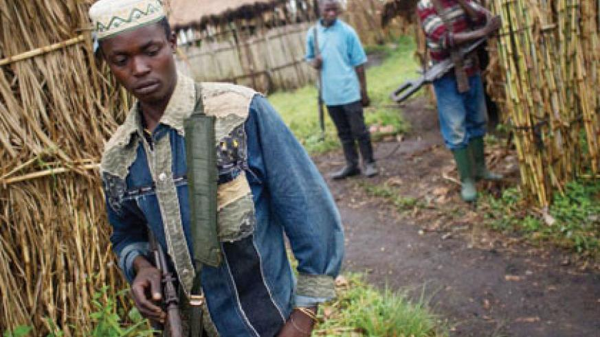 Some of the FDLR  fighters in one of their bases in the DR Congo. Net photo.