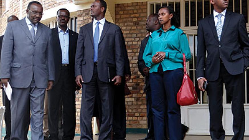 Kanimba (left) and other officials after commissioning the institute. The New Times / Peterson Tumwebaze.