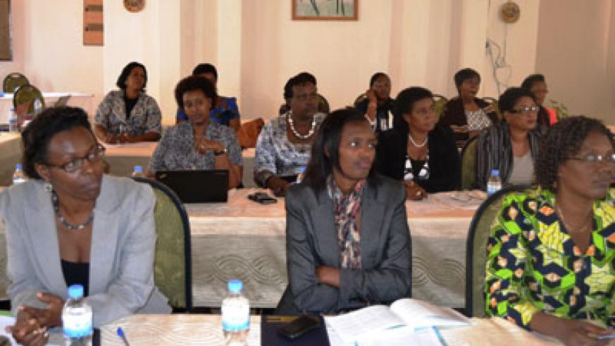 PS Henriette  Umulisa (left) MP Nyirarukundo and other MPs during the workshop. J. D'Amour Mbonyinshuti.