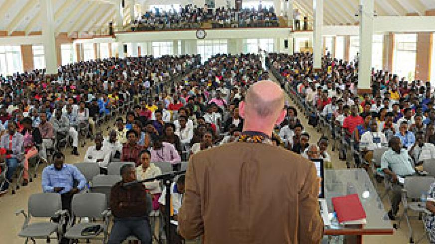 Andreas addresses students at the launch of the drive at AUCA yesterday.  The New Times / Courtesy