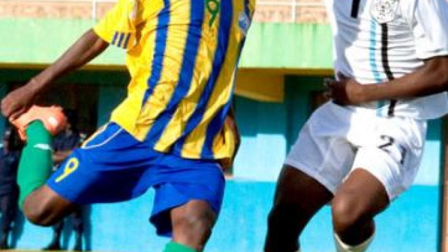 Spain-based Fiston Nkinzingabo takes on a Botswana player in a previous U-17 qualifying match. He will  lead Rwanda's search for goals against South Sudan. T. Kisambira.