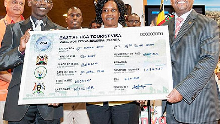 EAC delegates unveil the Single Tourist Visa at an international tourist exhibition in Berlin, Germany earlier this month. Courtesy.