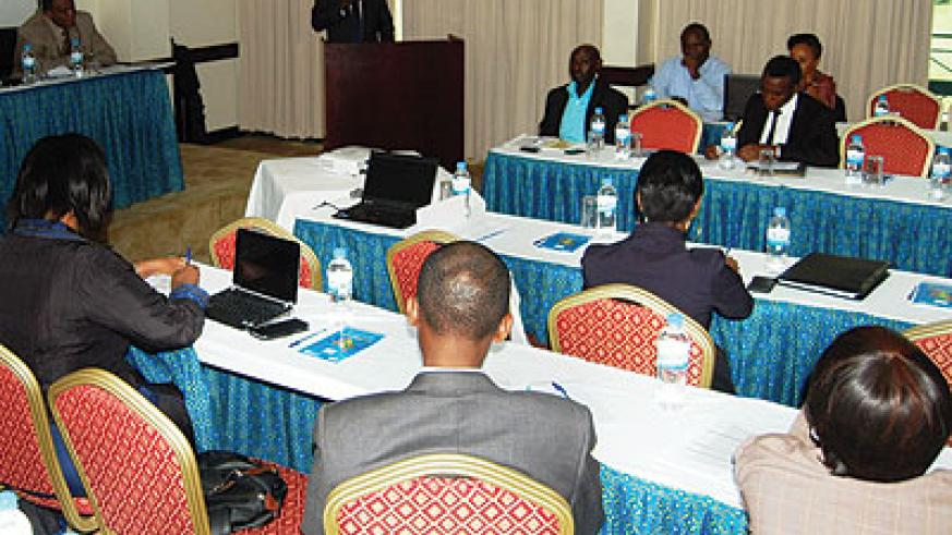 A facilitator addresses participants during the workshop last week. Didace Ndamira.