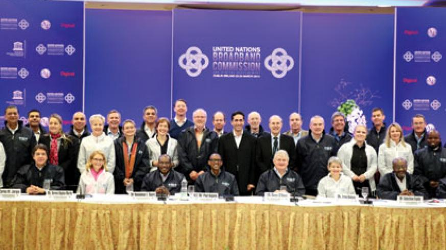 <p>President Kagame poses for a picture with Mr. Carlos Jarque, Representing Mr. Carlos Slim, co-chair of the Broadband Commission;Ms. Irina Bokova, co-Vice-Chair of the Broadband ....