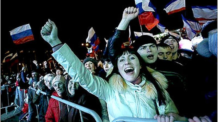 Pro-Moscow crowds celebrated after voting in the Crimean capital Simferopol on March 16. Net